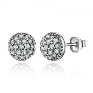 Cercei din argint tip Stud si Cristale Incrustate