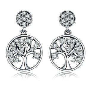 Cercei din argint Tree of Life clear