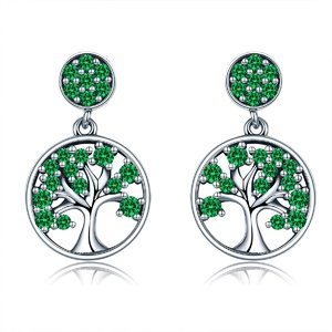 Cercei din argint Tree of Life green