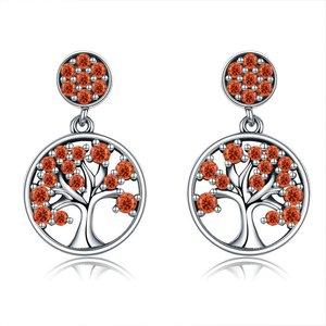 Cercei din argint Tree of Life red