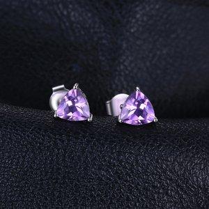 Cercei din argint Triangle Amethyst