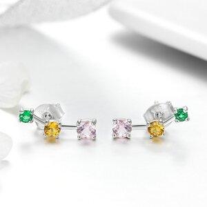 Cercei din argint Trio Colored Stones
