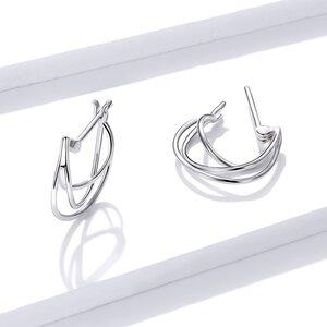 Cercei din argint Trio Lines Hoops