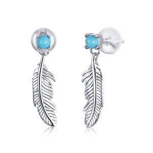 Cercei din argint Turquoise Feathers