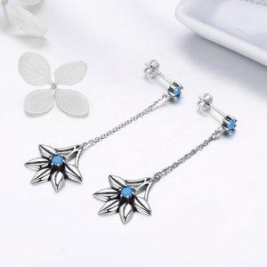 Cercei din argint Turquoise Long Flower