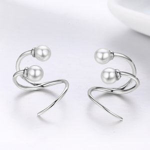 Cercei din argint Twist & Pearls