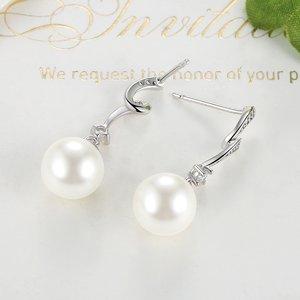 Cercei din argint Wave Drop Pearls