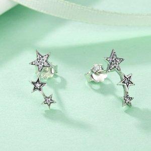 Cercei din argint Wave Stars