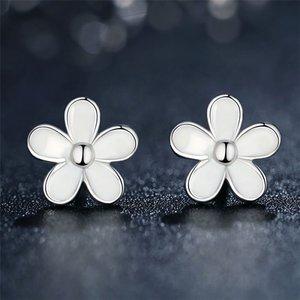 Cercei din argint White Daisy