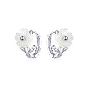 Cercei din argint White Flowers Hoops