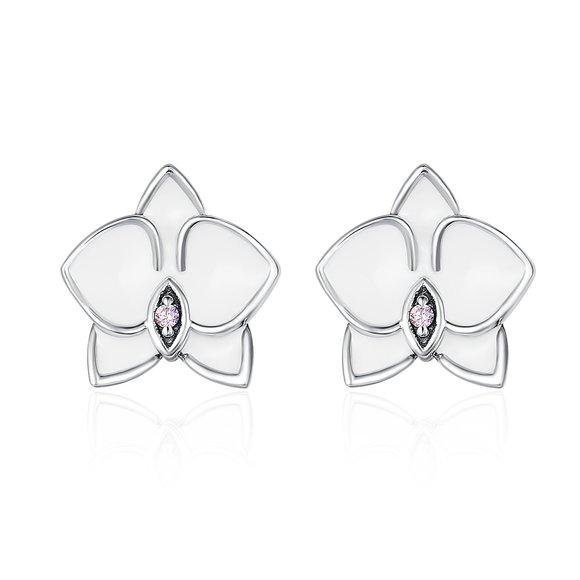 Cercei din argint White Orchid