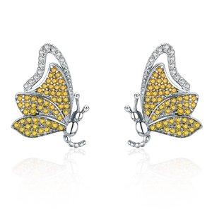 Cercei din argint Yellow Crystal Butterflies
