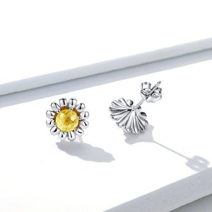 Cercei din argint Yellow Daisy Flower