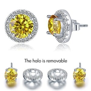 Cercei din argint Yellow Round Diamonds