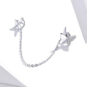 Cercel din argint Chain Butterflies