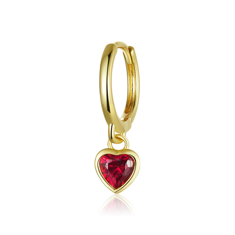 cercel din argint golden red heart 87688 4