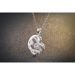 Colier cu lantisor din argint Double Hearts