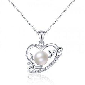 Colier cu lantisor din argint Pearl Love