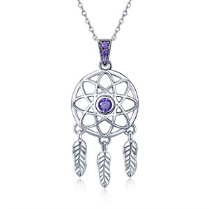 Colier din argint 925 Dream Catcher purple