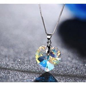 Colier din argint Aurore Boreale Heart cu Cristal Swarovski