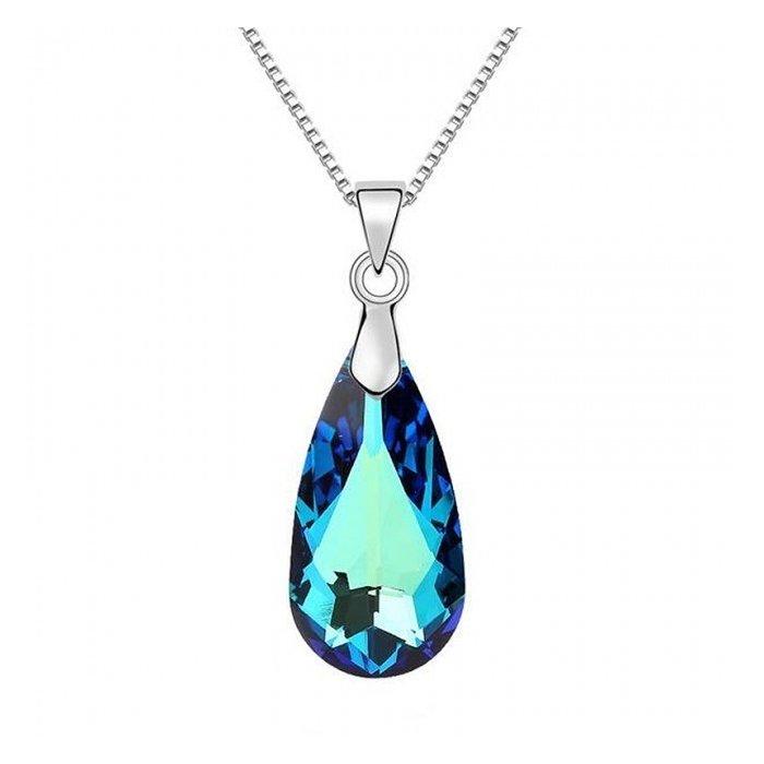 Colier din argint Bermuda Blue Drop cu Cristal Swarovski poza 2021