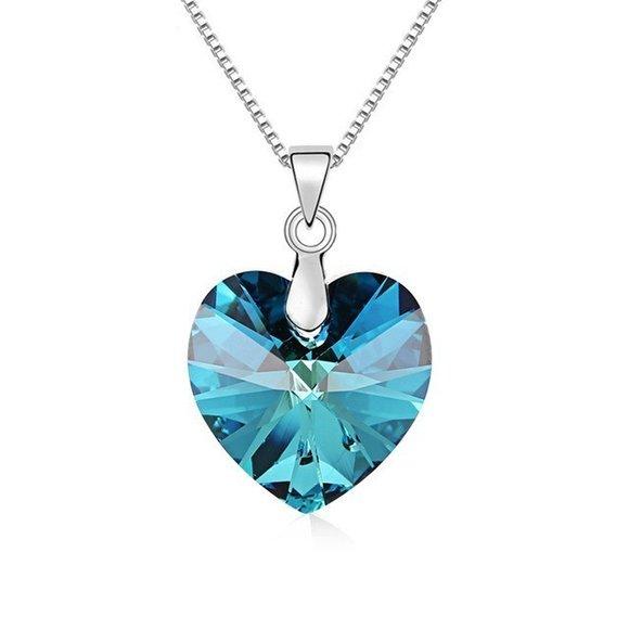 Colier din argint Bermuda Blue Heart cu Cristal Swarovski
