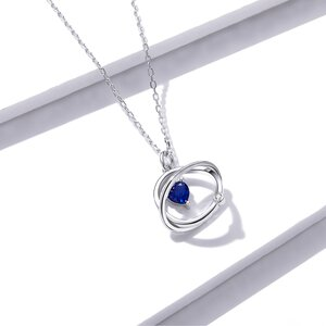 Colier din argint Blue Heart Circles