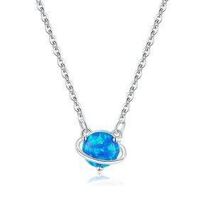 Colier din argint Blue Opal Planet