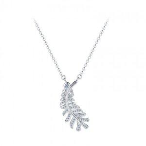 Colier din argint cu Frunza Argintie si Cristale