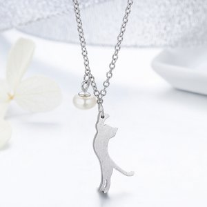 Colier din argint cu Pisica Jucausa si Perla Alba