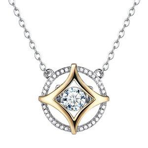 Colier din argint cu Stea Aurie si Cristale