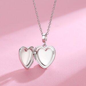 Colier din argint Custom Photo Simple Silver Heart