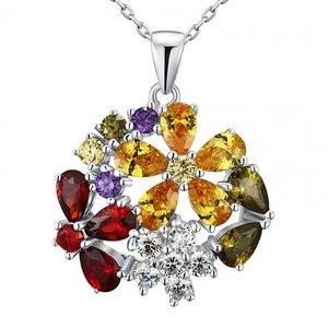 Colier din argint Diamond Luxury Multi-Coloured Flower