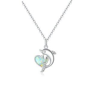 Colier din argint Dolphin Opal Heart