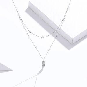 Colier din argint Double Chain Leaf