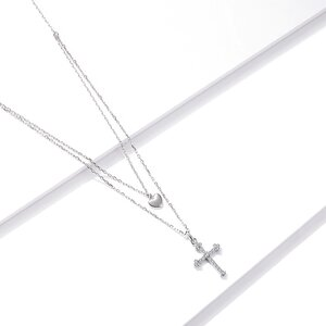 Colier din argint Double Cross Heart