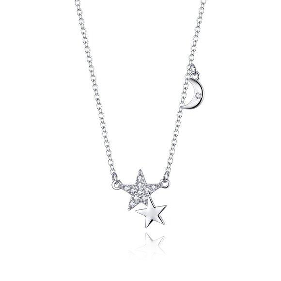 Colier din argint Double Stars & Shiny Moon