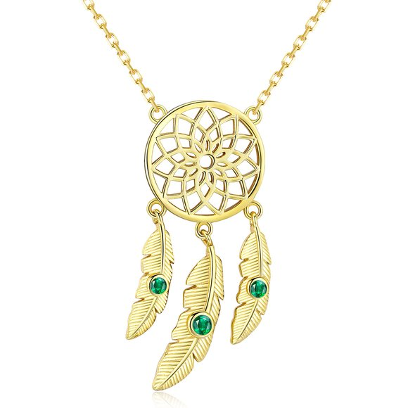 Colier din argint Gold Dream Catcher