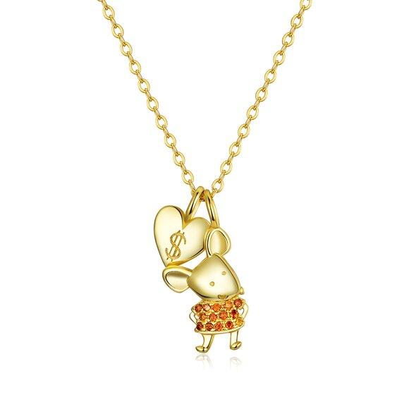 Colier din argint Golden Lucky Mouse