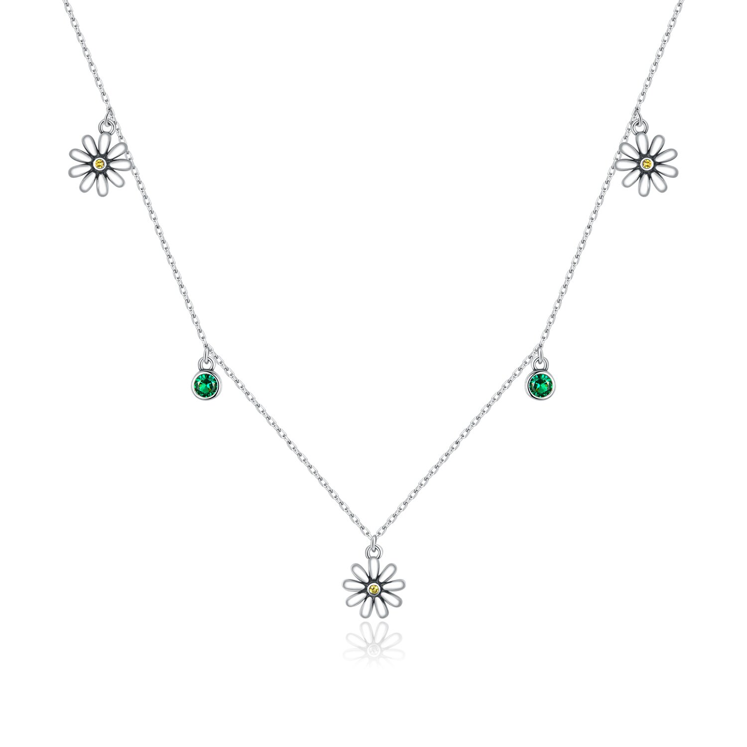 Colier din argint Green Daisy Crystals poza 2021