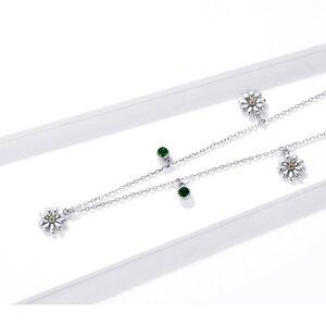 Colier din argint Green Daisy Crystals