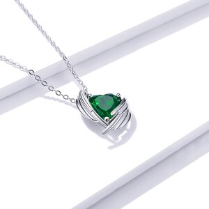 Colier din argint Green Winged Heart