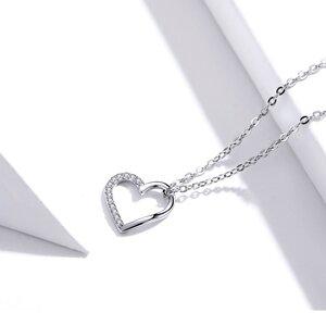 Colier din argint Half Crystal Heart