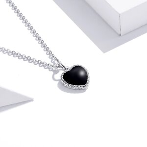 Colier din argint Little Black Heart