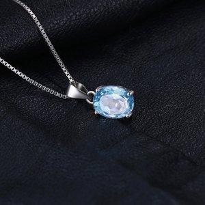 Colier din argint Oval Blue Topaz