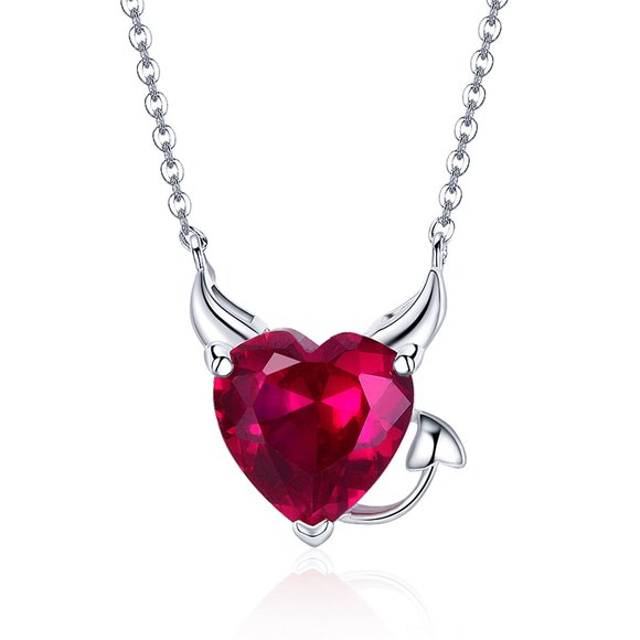 Colier din argint Red Heart Devil