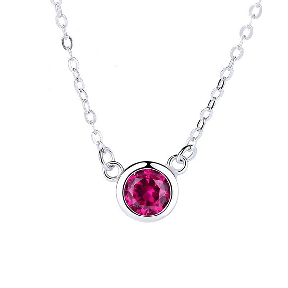 Colier din argint Red Round Diamond