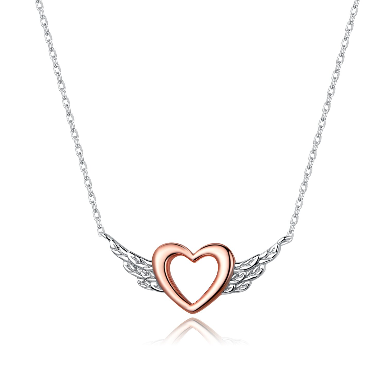 Colier din argint Rose Gold Angel Heart poza 2021