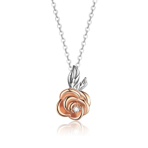 Colier din argint Rose Gold Little Flower