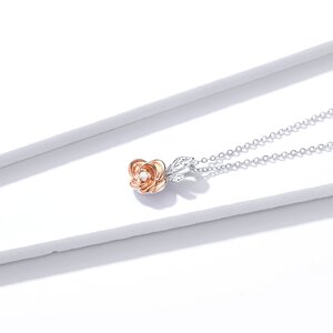 Colier din argint Rose Gold Little Flower